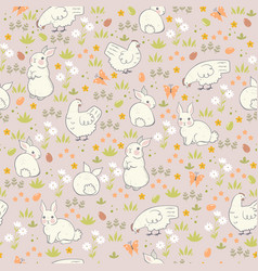 easter seamless pattern with cute spring chickens vector image