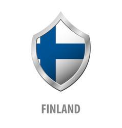 finland flag on metal shiny shield vector image