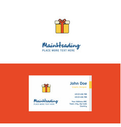 flat giftbox logo and visiting card template vector image