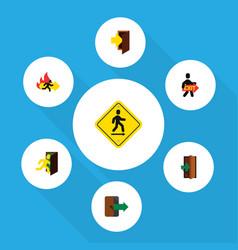 flat icon exit set of exit directional open door vector image