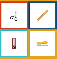 Flat icon stationery set of clippers dossier vector