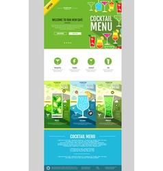 Flat style cocktail menu concept Web site design vector
