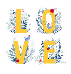 floral word love vector image