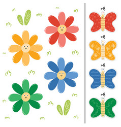 Flowers and butterflies color matching game for vector