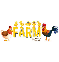 font design for word farm with chickens vector image