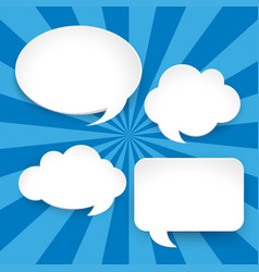 four blank speech bubbles on blue background vector image