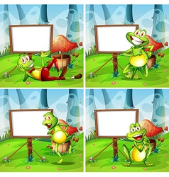 Four frames of frog in the park vector image