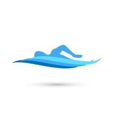Freestyle Swimmer Silhouette with Water Pool Waves vector image