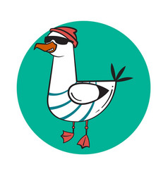 funny cartoon seagull steep thug life vector image vector image