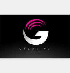 G white and pink swoosh letter logo letter design vector