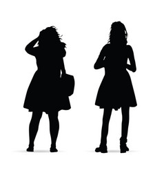 girl figure standing silhouette set on white vector image