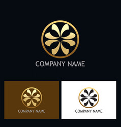 gold circle ornament logo vector image