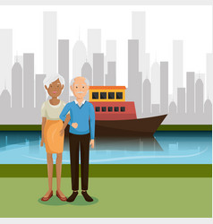 grandparents couple outdoors characters vector image