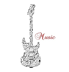 Guitar silhouette with musical notes vector image