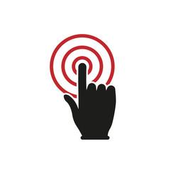 hand click button icon simple design vector image