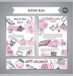 Hand drawn halloween brochure template horror vector