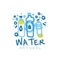 Hand drawn logo with blue bottles of mineral water vector