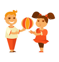 happy children girl or boy playing ball outdoor vector image