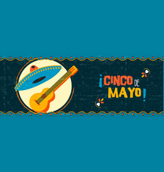 happy cinco de mayo mexican mariachi web banner vector image