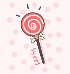 happy valentines day with lollipop candy vector image