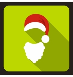 Hat and curly beard of Santa Claus icon vector image