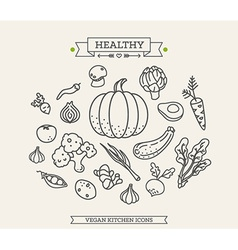 Healthy Vegetable Icon Set vector image
