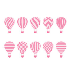 hot air balloon isolated monochrome set vector image