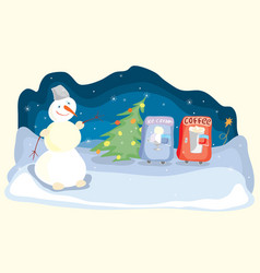 hot and cold merry winter evenings vector image
