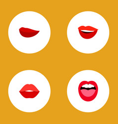 icon flat lips set of teeth rouge smile and vector image