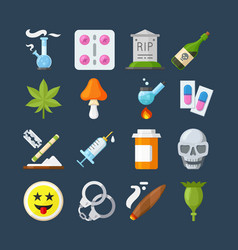 Illegal drugs flat icons set methamphetamine vector
