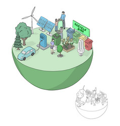 Isometric green friendly ecology concept on half vector