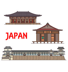japan travel landmarks and japanese architecture vector image