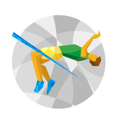 jumping athlete with abstract patterns vector image