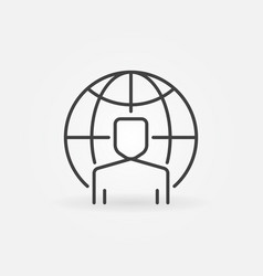 man with earth globe concept icon in thin vector image