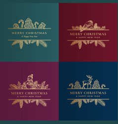 merry christmas greeting cards or labels set vector image