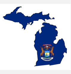 Michigan outline map and flag vector