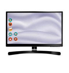 new monitor front and black drawing eps10 vector image