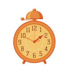 orange old fashioned alarm clock time measuring vector image