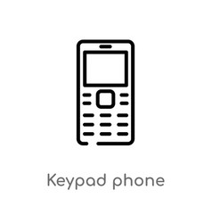 Outline keypad phone icon isolated black simple vector