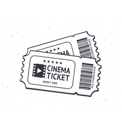 outline two cinema tickets with barcode vector image