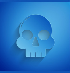 Paper cut skull icon isolated on blue background vector