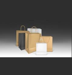 paper shopping bags blank packages mockup set vector image