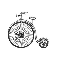 Penny farthing high wheel bicycle sketch vector