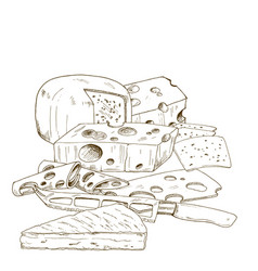 Pile of hand drawn cheese cheese knife vector