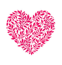 Pink floral watercolor heart vector