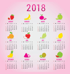 planner calendar new year 2018 fruit cute cartoon vector image