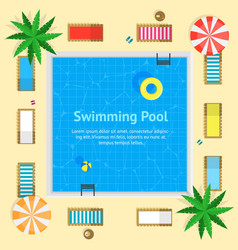 pool with blue water summer vacation concept card vector image