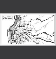 reggio calabria italy city map in black and white vector image
