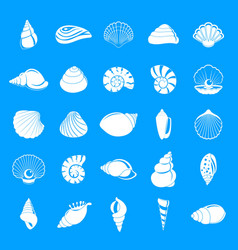 sea shell icons set simple style vector image