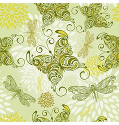 seamless pattern with butterflies dragonflies and vector image